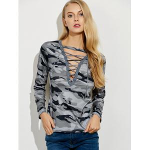 Lace Up Camouflage Long Sleeve T-Shirt -