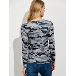 Lace Up Camouflage Long Sleeve T-Shirt - GRAY XL