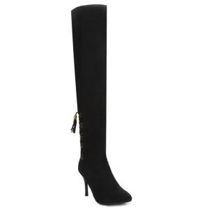 Stiletto Heel Tassels Tie Up Thigh Boots