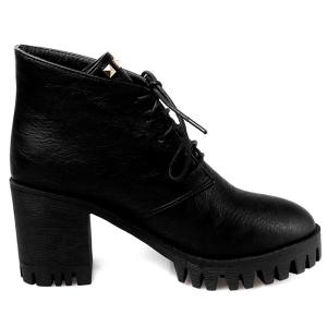 Chunky Heel Rivets Tie Up Ankle Boots - BLACK 39