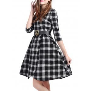 Plaid Belted Fit and Flare Dress - BLACK 3XL