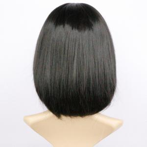 Short Full Bang Fluffy Straight Heat Resistant Fiber Wig - BLACK