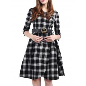 Plaid Belted Fit and Flare Dress - Black - S