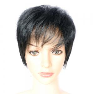 Short Boy Cut Side Bang Fluffy Straight Synthetic Capless Wig -