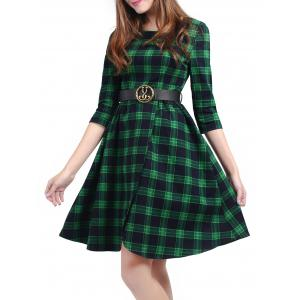 Plaid Belted Fit and Flare Dress - GREEN S
