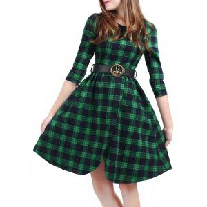 Plaid Belted Fit and Flare Dress