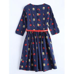 Belted Make Up Print Fit and Flare Dress -