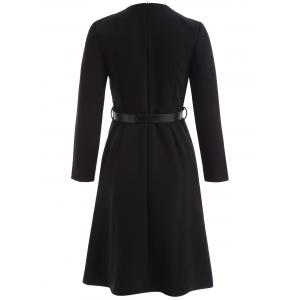Belted Long Sleeve Fit and Flare Dress -
