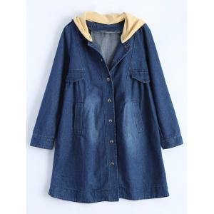 Hooded Ruched Denim Coat - Blue - M