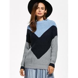 Fitting Chunky Color Block Sweater - GRAY ONE SIZE