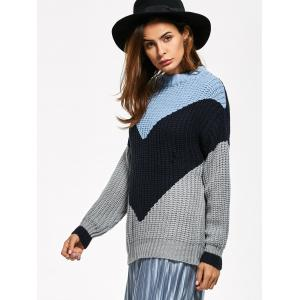 Fitting Chunky Color Block Sweater -