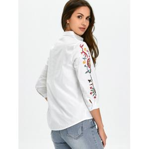 High-Low Floral Embroidered Shirt -