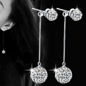 Rhinestone Embellished Ball Drop Earrings -