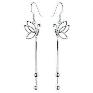 Butterfly Hollowed Drop Earrings - SILVER
