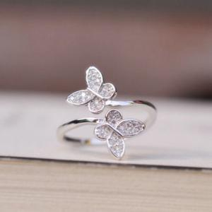 Double Butterfly Fake Crystal Embellished Cuff Ring -