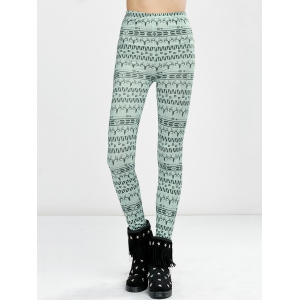 High Waist Elk Print Tight Christmas Leggings - LIGHT GREEN XL