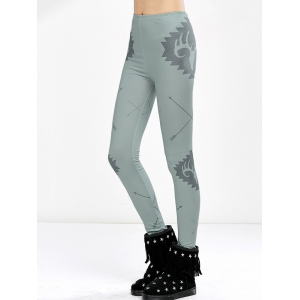Elk Print High Waist Christmas Tight Leggings - Light Green - M