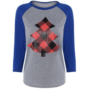 Raglan Sleeve Tree Print Christmas Baseball Tee