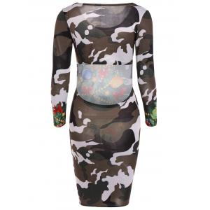 Christmas Tree Print Camouflage Dress - CAMOUFLAGE COLOR XL