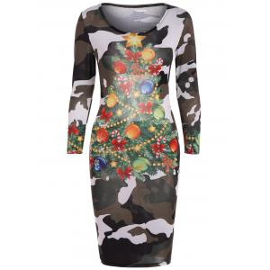 Christmas Tree Print Camouflage Dress - Camouflage Color - S