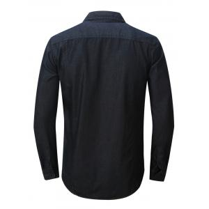 Bouton Chest Pocket Up Denim Shirt - Noir S