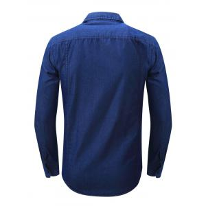 Bouton Chest Pocket Up Denim Shirt - Bleu Foncé S