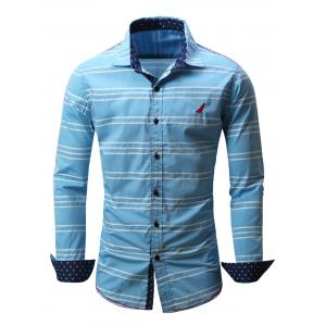 Embroidered Button Front Striped Shirt