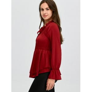 Lace Up Bell Sleeve Skirted Ruffle Blouse - WINE RED XL