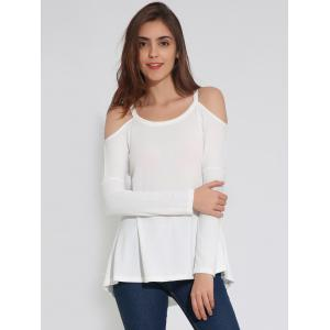 Cold Shoulder long T-shirt à manches uni -