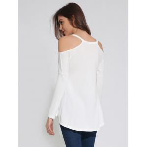 Cold Shoulder long T-shirt à manches uni - Blanc M