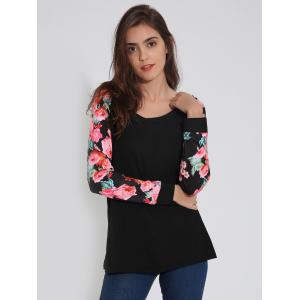 Raglan Sleeve T-Shirt with Floral Print