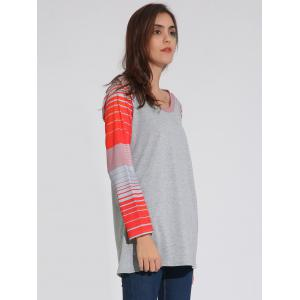 Raglan Sleeve Striped Tunique T-Shirt - Gris XL