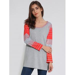Raglan Sleeve Striped Tunique T-Shirt - Gris L