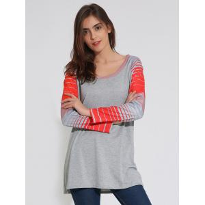 Raglan Sleeve Striped Tunique T-Shirt - Gris M