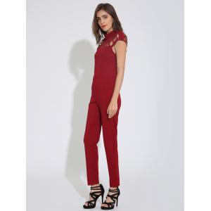 Cap Sleeve Plain Cut Out Jumpsuit - BURGUNDY XL