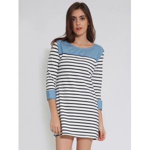 Mini Stripe Shift Tunic T-Shirt Dress