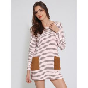 Long Sleeve T-Shirt Tunic Shift Striped Dress - RED XL