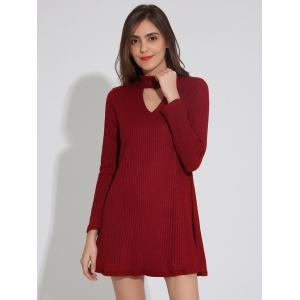 Ribbed A Line Tunic Dress - WINE RED XL
