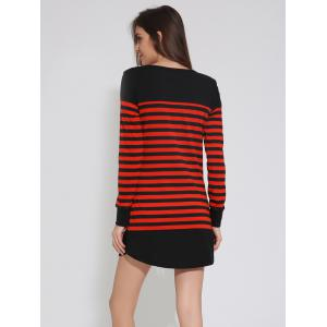 Drop Shoulder Striped Short Tunic Casual Dress -