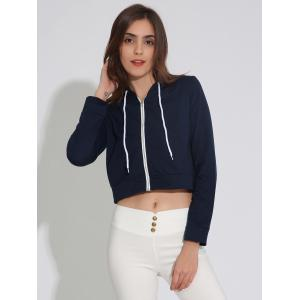 Zip Up Cropped Hoodie with Drawstring -