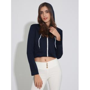 Zip Up Cropped Hoodie with Drawstring - PURPLISH BLUE XL