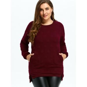 Plus Size Quilted Long Sleeve High Low Top - WINE RED 4XL