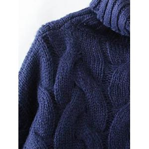 Cable Knit Turtle Neck Sweater - BLACKISH GREEN ONE SIZE