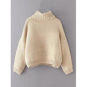 Off White One Size Oversized Turtle Neck Cable Knit Sweater ...
