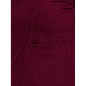Plus Size Furcal Long Sleeve Fitted Dress - CADETBLUE/WINE RED 5XL