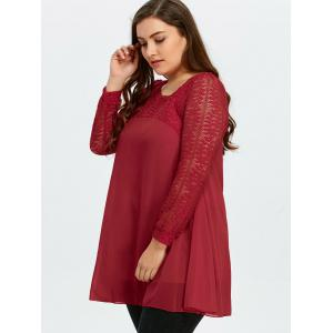 Plus Size Lace Cutout Long Sleeve Chiffon Blouse -