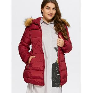 Plus Size Long Fur Trim Hooded Coat -