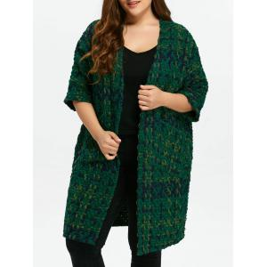 Plus Size Space Dyed Chunky Cardigan - Green - One Size