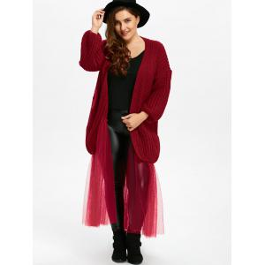 Cardigan trapu taille plus avec filet - Rouge vineux TAILLE MOYENNE