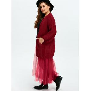 Plus Size Mesh Insert Chunky Duster Cardigan - WINE RED ONE SIZE